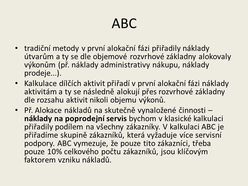 ABC tradiční metody v první alokační fázi přiřadily náklady útvarům a ty se dle objemové rozvrhové základny alokovaly výkonům (př. náklady administrat