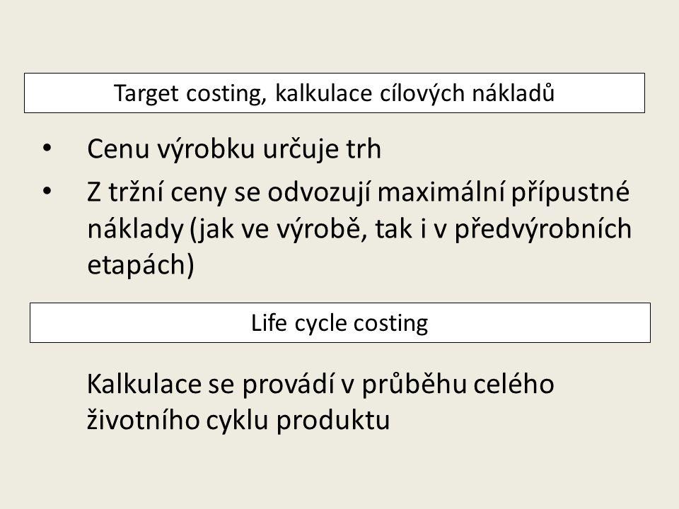 Cenu výrobku určuje trh Z tržní ceny se odvozují maximální přípustné náklady (jak ve výrobě, tak i v předvýrobních etapách) Target costing, kalkulace