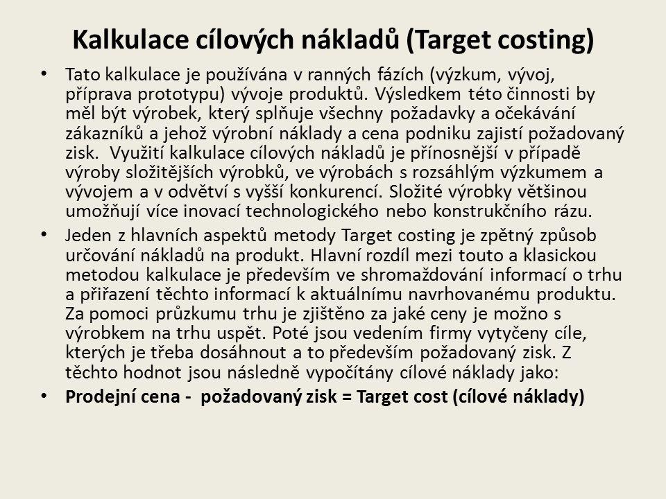 Kalkulace cílových nákladů (Target costing) Tato kalkulace je používána v ranných fázích (výzkum, vývoj, příprava prototypu) vývoje produktů. Výsledke