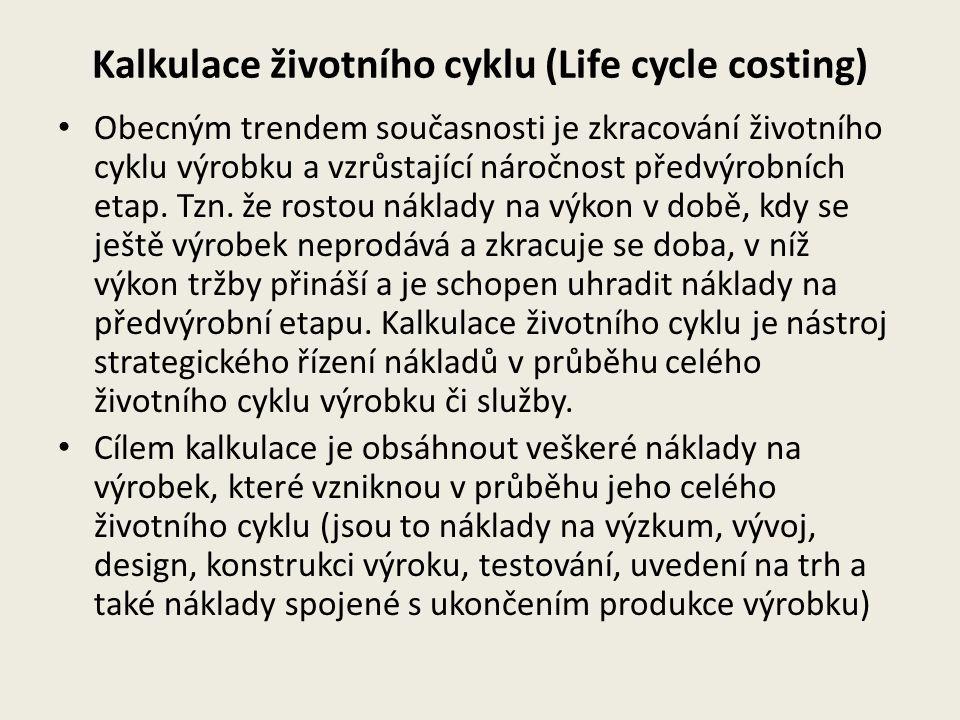 Kalkulace životního cyklu (Life cycle costing) Obecným trendem současnosti je zkracování životního cyklu výrobku a vzrůstající náročnost předvýrobních