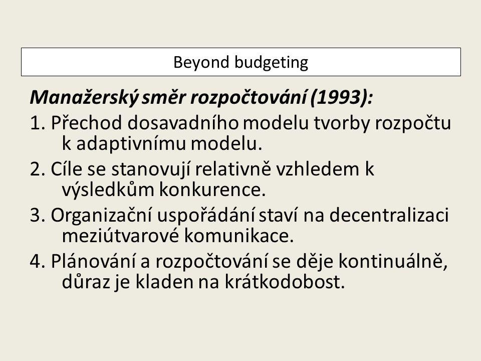 Manažerský směr rozpočtování (1993): 1. Přechod dosavadního modelu tvorby rozpočtu k adaptivnímu modelu. 2. Cíle se stanovují relativně vzhledem k výs