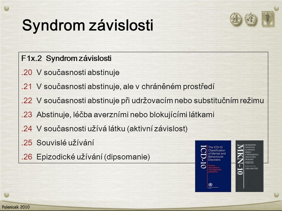 F1x.2 Syndrom závislosti.20 V současnosti abstinuje.21 V současnosti abstinuje, ale v chráněném prostředí.22 V současnosti abstinuje při udržovacím nebo substitučním režimu.23 Abstinuje, léčba averzními nebo blokujícími látkami.24 V současnosti užívá látku (aktivní závislost).25 Souvislé užívání.26 Epizodické užívání (dipsomanie) Syndrom závislosti