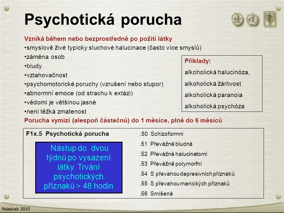 Psychotická porucha Vzniká během nebo bezprostředně po požití látky smyslově živé typicky sluchové halucinace (často více smyslů) záměna osob bludy vztahovačnost psychomotorické poruchy (vzrušení nebo stupor) abnormní emoce (od strachu k extázi) vědomí je většinou jasné není těžká zmatenost Porucha vymizí (alespoň částečnů) do 1 měsíce, plně do 6 měsíců Příklady: alkoholická halucinóza, alkoholická žárlivost alkoholická paranoia alkoholická psychóza F1x.5 Psychotická porucha.