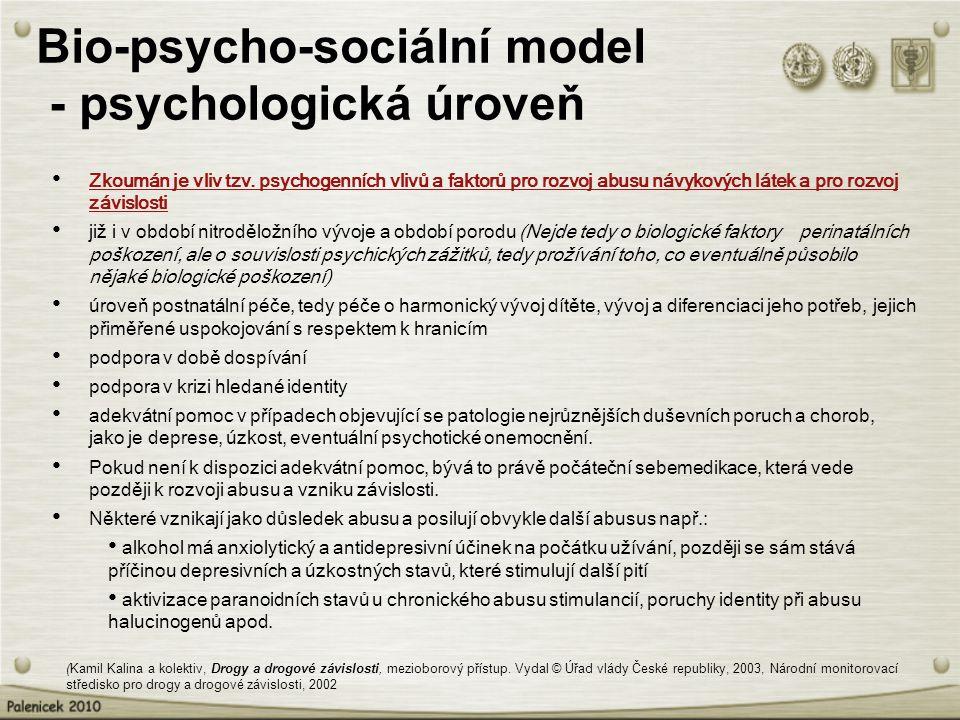 Bio-psycho-sociální model - psychologická úroveň Zkoumán je vliv tzv. psychogenních vlivů a faktorů pro rozvoj abusu návykových látek a pro rozvoj záv