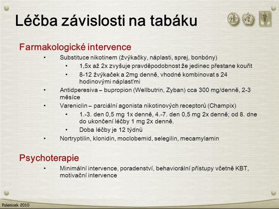 Léčba závislosti na tabáku Farmakologické intervence Substituce nikotinem (žvýkačky, náplasti, sprej, bonbóny) 1,5x až 2x zvyšuje pravděpodobnost že j