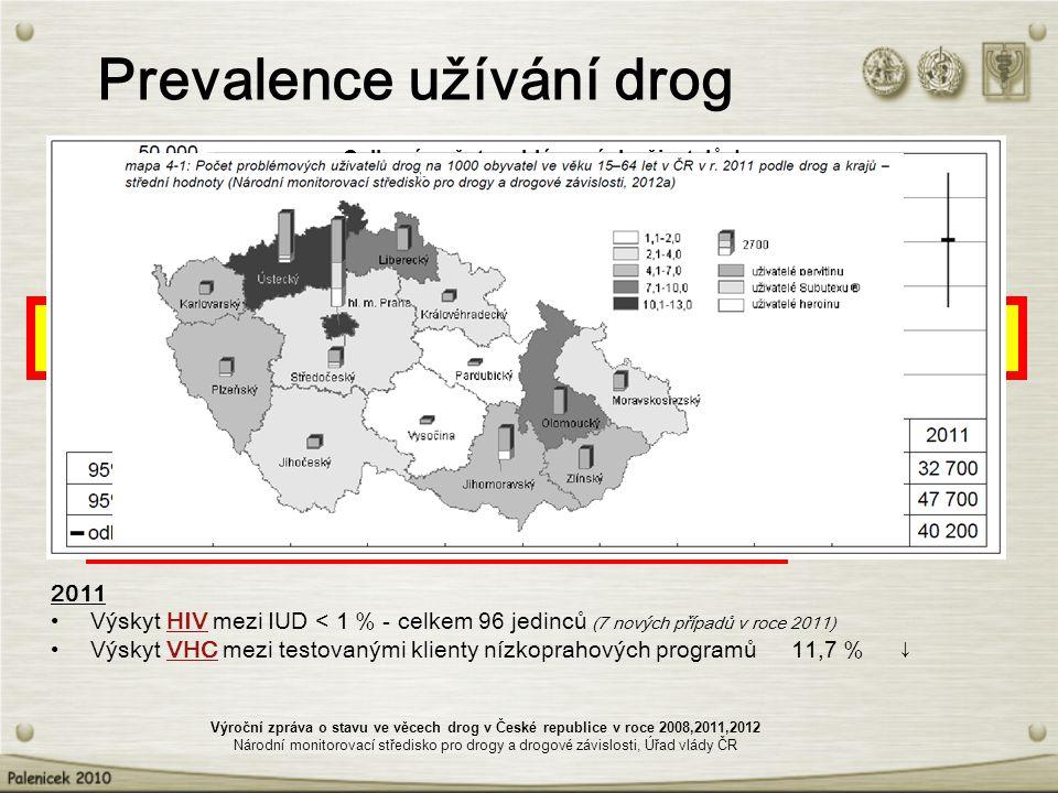 Prevalence užívání drog Celoživotní prevalence užití:20082012 – jakékoliv nelegální drogy u osob ve věku 15–64 let 36,5 % - – konopných látek u osob ve věku 15–64 let 34,3 % 29,7 – konopných látek u osob ve věku 15-34 let 53,7 % 45,9 Užití konopných látek v posledních 12 měsících u osob ve věku 15-34 let 28,8 % 18,3 Odhadovaný počet: 20082012 – problémových uživatelů drog 32 500 40 200 – injekčních uživatelů drog 31 200 38 600 – problémových uživatelů pervitinu 21 200 30 900 – problémových uživatelů opiátů 11 300 9 300 2011 Výskyt HIV mezi IUD < 1 % - celkem 96 jedinců (7 nových případů v roce 2011) Výskyt VHC mezi testovanými klienty nízkoprahových programů 11,7 % ↓ Výroční zpráva o stavu ve věcech drog v České republice v roce 2008,2011,2012 Národní monitorovací středisko pro drogy a drogové závislosti, Úřad vlády ČR Celkový počet problémových uživatelů drog