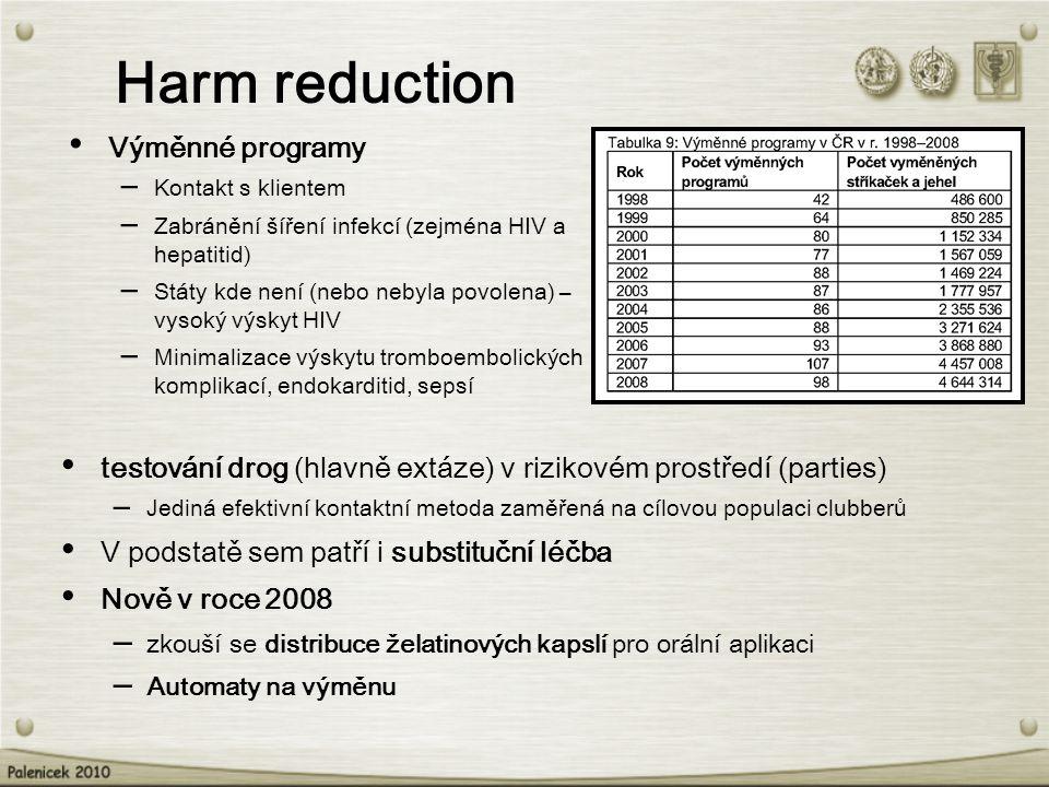testování drog (hlavně extáze) v rizikovém prostředí (parties) – Jediná efektivní kontaktní metoda zaměřená na cílovou populaci clubberů V podstatě sem patří i substituční léčba Nově v roce 2008 – zkouší se distribuce želatinových kapslí pro orální aplikaci – Automaty na výměnu Harm reduction Výměnné programy – Kontakt s klientem – Zabránění šíření infekcí (zejména HIV a hepatitid) – Státy kde není (nebo nebyla povolena) – vysoký výskyt HIV – Minimalizace výskytu tromboembolických komplikací, endokarditid, sepsí