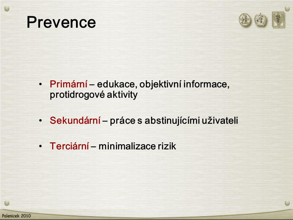 Primární – edukace, objektivní informace, protidrogové aktivity Sekundární – práce s abstinujícími uživateli Terciární – minimalizace rizik Prevence