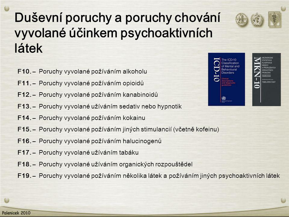 Duševní poruchy a poruchy chování vyvolané účinkem psychoaktivních látek F10. – Poruchy vyvolané požíváním alkoholu F11. – Poruchy vyvolané požíváním
