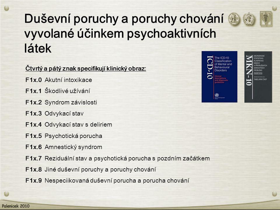 Duševní poruchy a poruchy chování vyvolané účinkem psychoaktivních látek Čtvrtý a pátý znak specifikují klinický obraz: F1x.0 Akutní intoxikace F1x.1 Škodlivé užívání F1x.2 Syndrom závislosti F1x.3 Odvykací stav F1x.4 Odvykací stav s deliriem F1x.5 Psychotická porucha F1x.6 Amnestický syndrom F1x.7 Reziduální stav a psychotická porucha s pozdním začátkem F1x.8 Jiné duševní poruchy a poruchy chování F1x.9 Nespeciikovaná duševní porucha a porucha chování