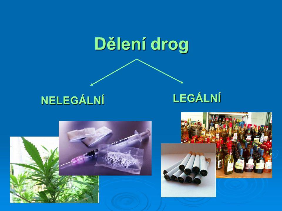 NELEGÁLNÍ 1.Konopné drogy 2. Opiáty 3. Stimulační látky 4.