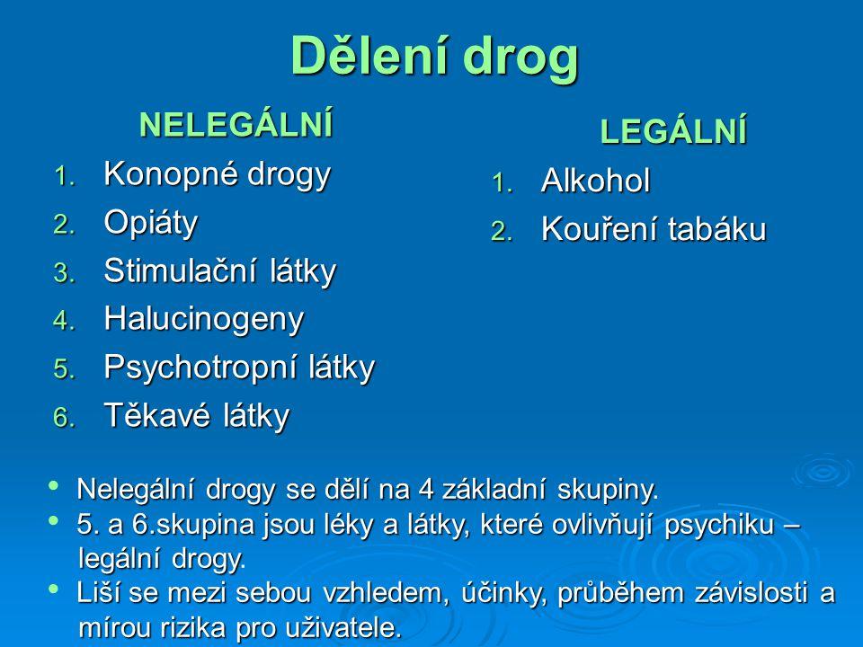 NELEGÁLNÍ 1. Konopné drogy 2. Opiáty 3. Stimulační látky 4.
