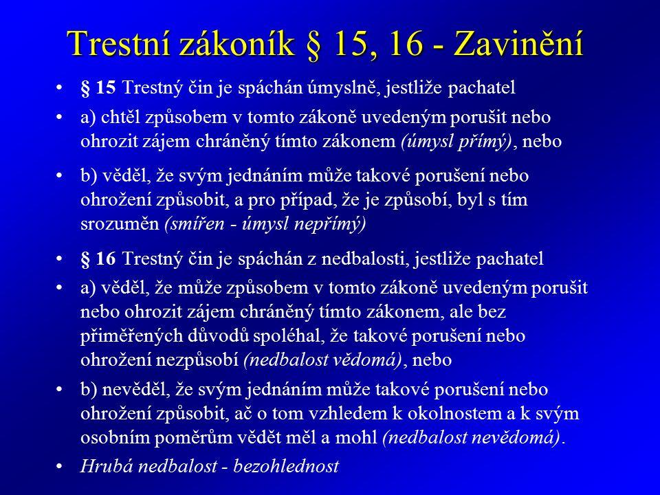 Trestní zákoník § 25 - Věk Kdo v době spáchání činu nedovršil patnáctý rok svého věku, není trestně odpovědný.