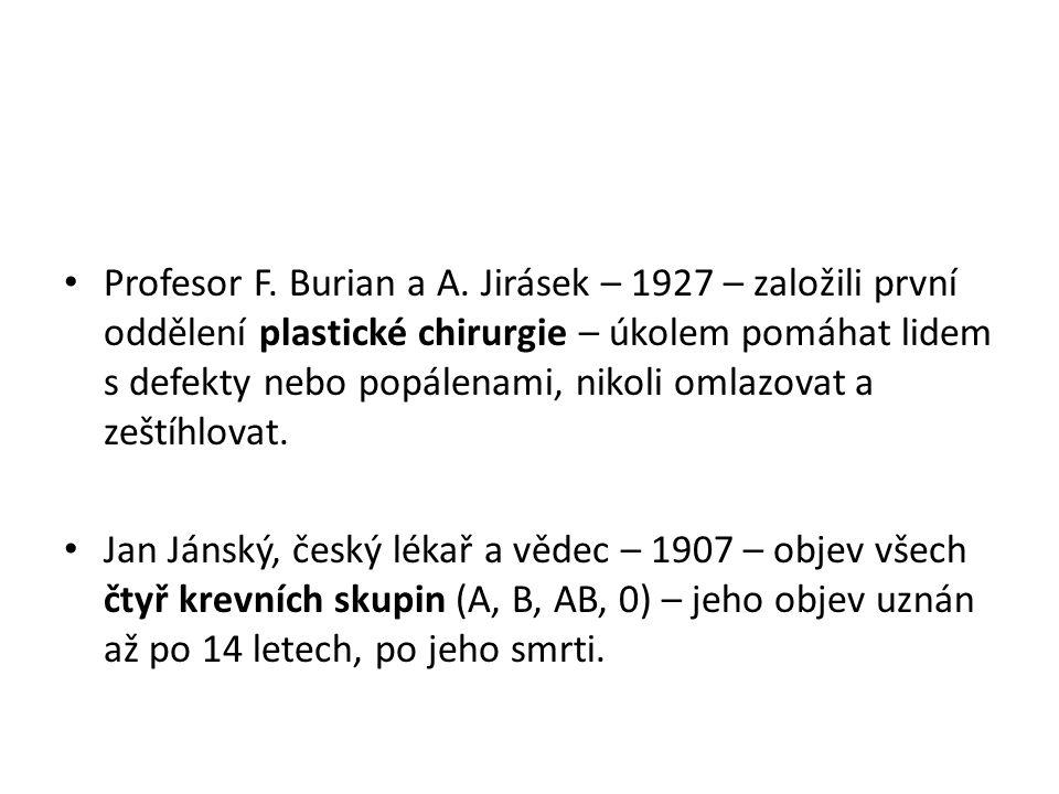 Profesor F. Burian a A.