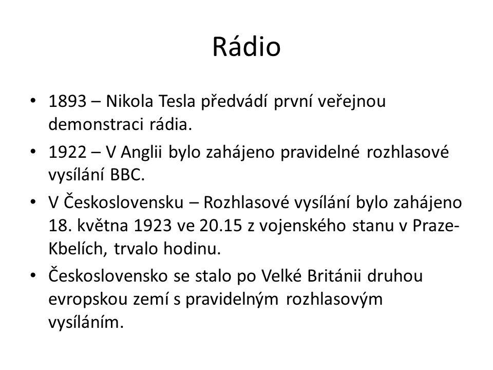 Rádio 1893 – Nikola Tesla předvádí první veřejnou demonstraci rádia.