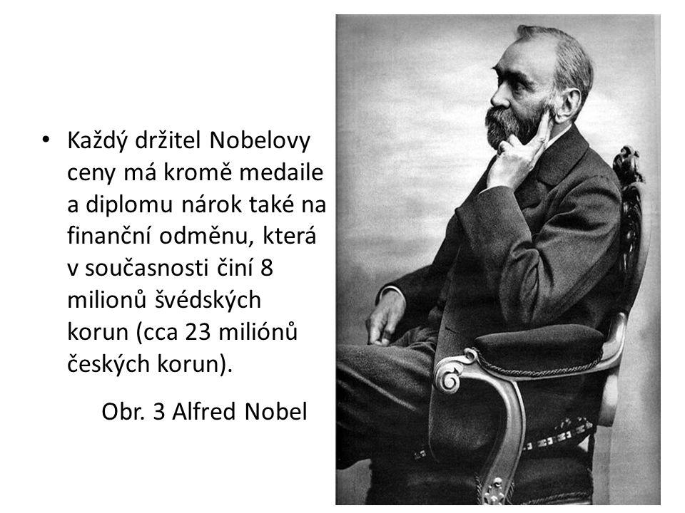 Každý držitel Nobelovy ceny má kromě medaile a diplomu nárok také na finanční odměnu, která v současnosti činí 8 milionů švédských korun (cca 23 miliónů českých korun).