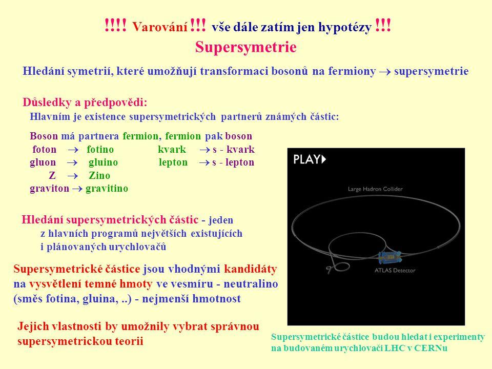 Supersymetrie Hledání supersymetrických částic - jeden z hlavních programů největších existujících i plánovaných urychlovačů Hledání symetrií, které umožňují transformaci bosonů na fermiony  supersymetrie Důsledky a předpovědi: Supersymetrické částice budou hledat i experimenty na budovaném urychlovači LHC v CERNu Hlavním je existence supersymetrických partnerů známých částic: Boson má partnera fermion, fermion pak boson foton  fotino kvark  s - kvark gluon  gluino lepton  s - lepton Z  Zino graviton  gravitino Supersymetrické částice jsou vhodnými kandidáty na vysvětlení temné hmoty ve vesmíru - neutralino (směs fotina, gluina,..) - nejmenší hmotnost Jejich vlastnosti by umožnily vybrat správnou supersymetrickou teorii !!!.