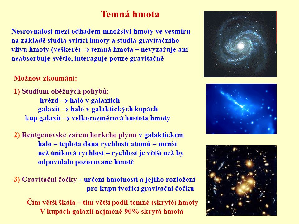 Nesrovnalost mezi odhadem množství hmoty ve vesmíru na základě studia svítící hmoty a studia gravitačního vlivu hmoty (veškeré)  temná hmota – nevyzařuje ani neabsorbuje světlo, interaguje pouze gravitačně Možnost zkoumání: 1) Studium oběžných pohybů: hvězd  haló v galaxiích galaxií  haló v galaktických kupách kup galaxií  velkorozměrová hustota hmoty 2) Rentgenovské záření horkého plynu v galaktickém halo – teplota dána rychlostí atomů – menší než úniková rychlost – rychlost je větší než by odpovídalo pozorované hmotě 3) Gravitační čočky – určení hmotnosti a jejího rozložení pro kupu tvořící gravitační čočku Čím větší škála – tím větší podíl temné (skryté) hmoty V kupách galaxií nejméně 90% skrytá hmota Temná hmota