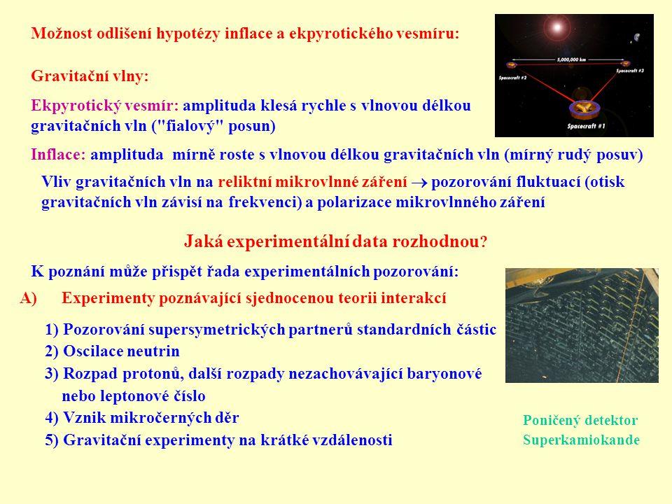 Možnost odlišení hypotézy inflace a ekpyrotického vesmíru: Gravitační vlny: Ekpyrotický vesmír: amplituda klesá rychle s vlnovou délkou gravitačních vln ( fialový posun) Inflace: amplituda mírně roste s vlnovou délkou gravitačních vln (mírný rudý posuv) Vliv gravitačních vln na reliktní mikrovlnné záření  pozorování fluktuací (otisk gravitačních vln závisí na frekvenci) a polarizace mikrovlnného záření Jaká experimentální data rozhodnou .