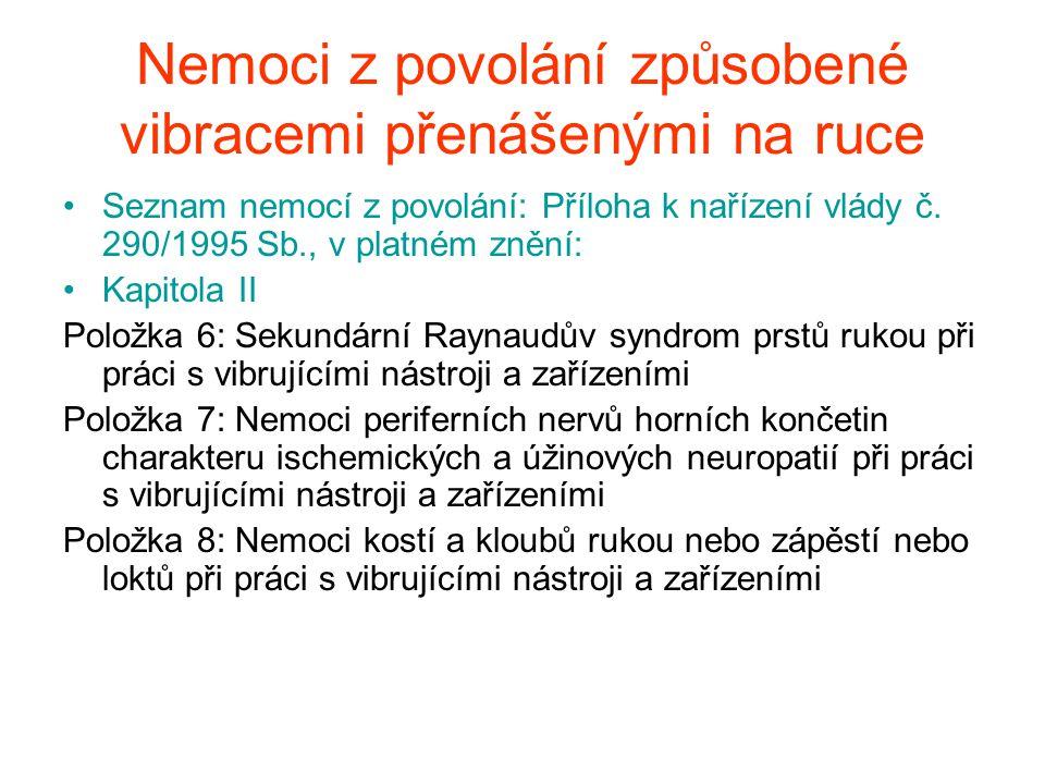 Nemoci z povolání způsobené vibracemi přenášenými na ruce Seznam nemocí z povolání: Příloha k nařízení vlády č. 290/1995 Sb., v platném znění: Kapitol
