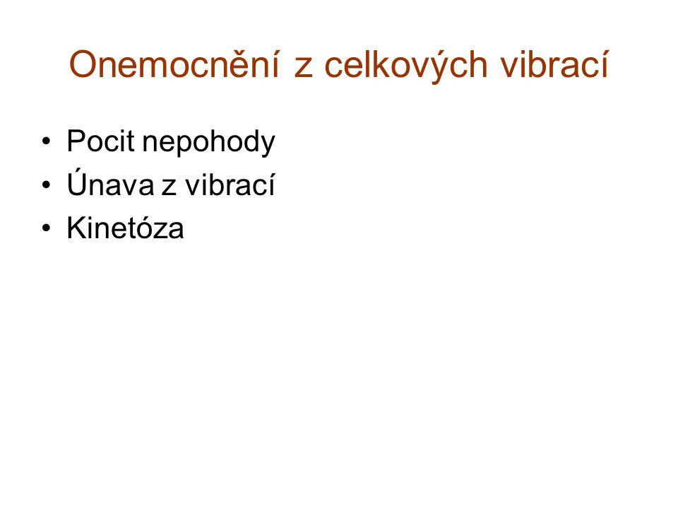 Onemocnění z celkových vibrací Pocit nepohody Únava z vibrací Kinetóza
