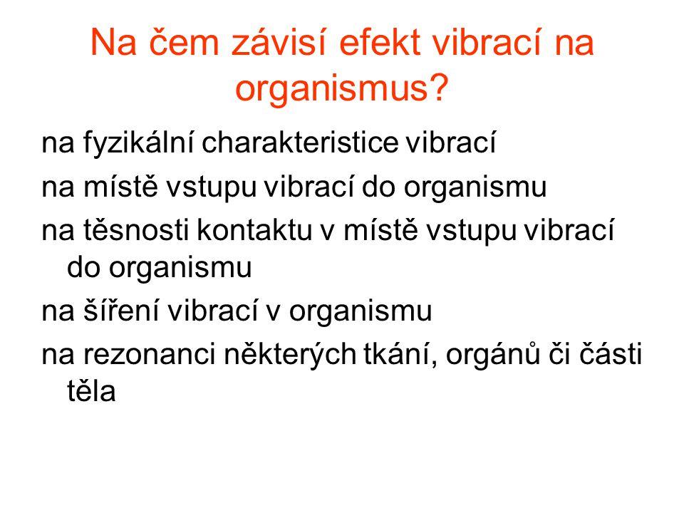 Na čem závisí efekt vibrací na organismus? na fyzikální charakteristice vibrací na místě vstupu vibrací do organismu na těsnosti kontaktu v místě vstu