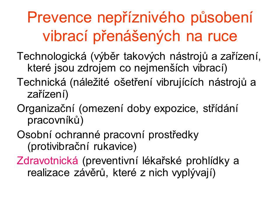 Kontraindikace pro práci v riziku vibrací přenášených na ruce Vyhláška č.