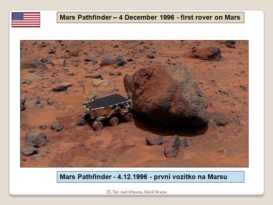 ZŠ, Týn nad Vltavou, Malá Strana Mars Pathfinder – 4 December 1996 - first rover on Mars Mars Pathfinder - 4.12.1996 - první vozítko na Marsu