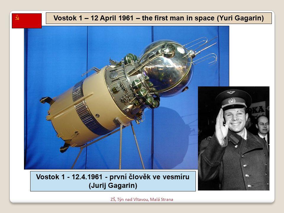 ZŠ, Týn nad Vltavou, Malá Strana Vostok 1 – 12 April 1961 – the first man in space (Yuri Gagarin) Vostok 1 - 12.4.1961 - první člověk ve vesmíru (Jurij Gagarin)