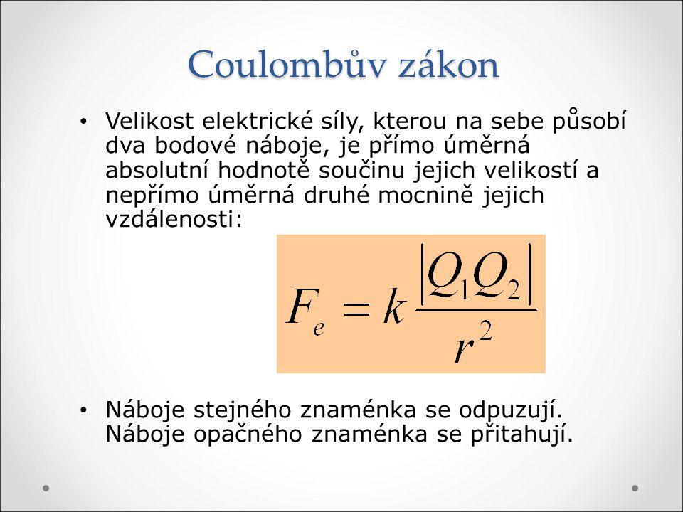 Coulombův zákon Velikost elektrické síly, kterou na sebe působí dva bodové náboje, je přímo úměrná absolutní hodnotě součinu jejich velikostí a nepřím