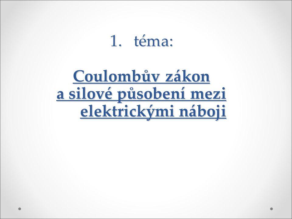 1.téma: Coulombův zákon a silové působení mezi elektrickými náboji
