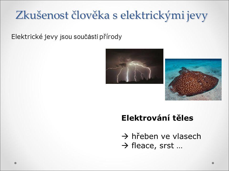 Zkušenost člověka s elektrickými jevy Elektrické jevy jsou součástí přírod y Elektrování těles  hřeben ve vlasech  fleace, srst …