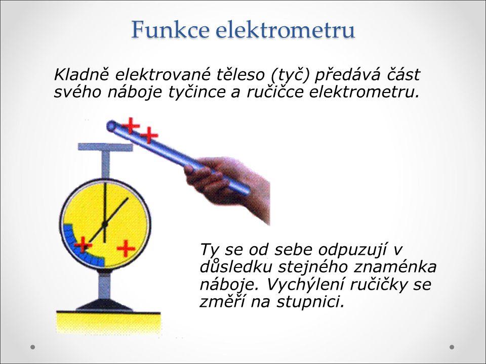 Funkce elektrometru Kladně elektrované těleso (tyč) předává část svého náboje tyčince a ručičce elektrometru. Ty se od sebe odpuzují v důsledku stejné