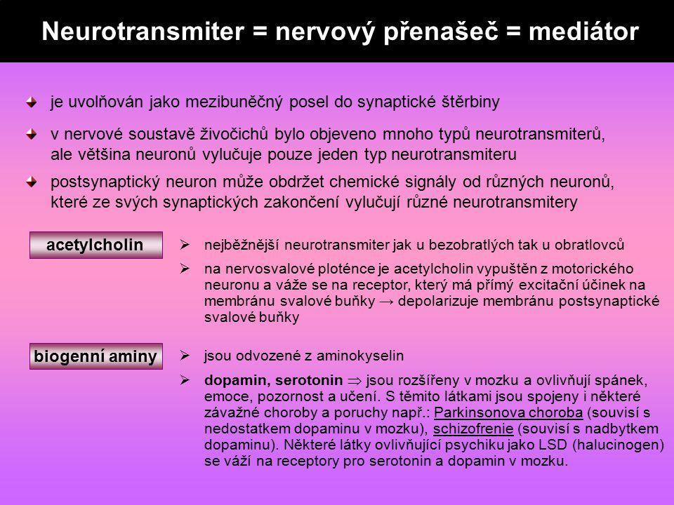 neurotransmiter = nervový mediátor = nervový přenašeč je uvolňován jako mezibuněčný posel do synaptické štěrbiny v nervové soustavě živočichů bylo obj