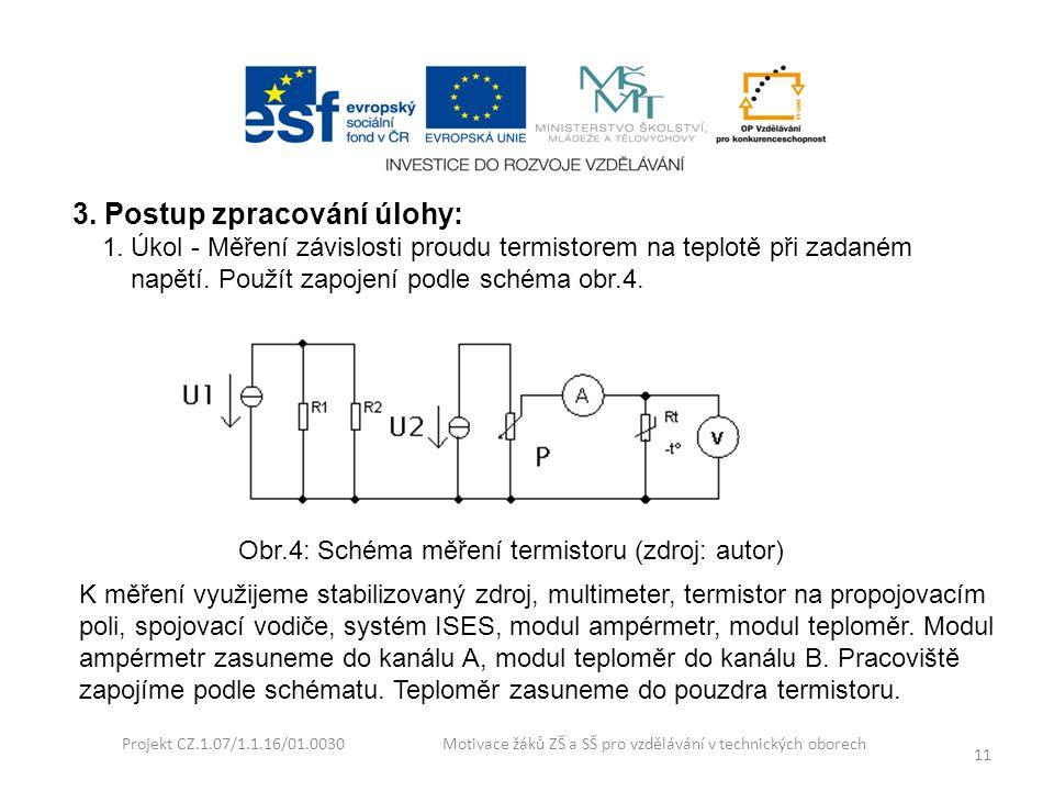 Projekt CZ.1.07/1.1.16/01.0030 Motivace žáků ZŠ a SŠ pro vzdělávání v technických oborech 11 3. Postup zpracování úlohy: 1. Úkol - Měření závislosti p