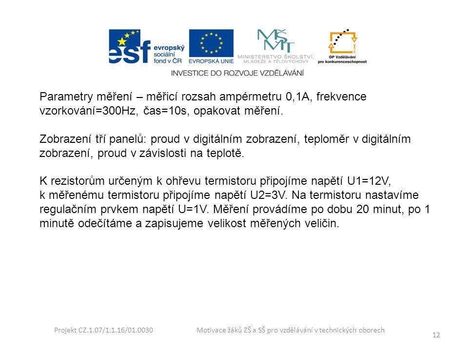 Projekt CZ.1.07/1.1.16/01.0030 Motivace žáků ZŠ a SŠ pro vzdělávání v technických oborech 12 Parametry měření – měřicí rozsah ampérmetru 0,1A, frekven