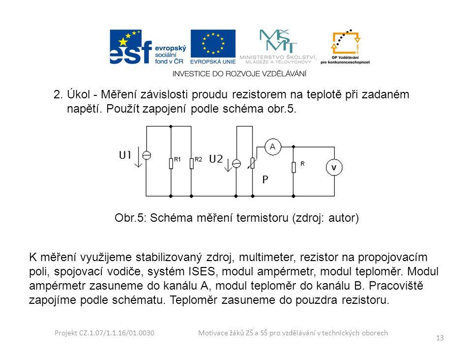 Projekt CZ.1.07/1.1.16/01.0030 Motivace žáků ZŠ a SŠ pro vzdělávání v technických oborech 13 2. Úkol - Měření závislosti proudu rezistorem na teplotě