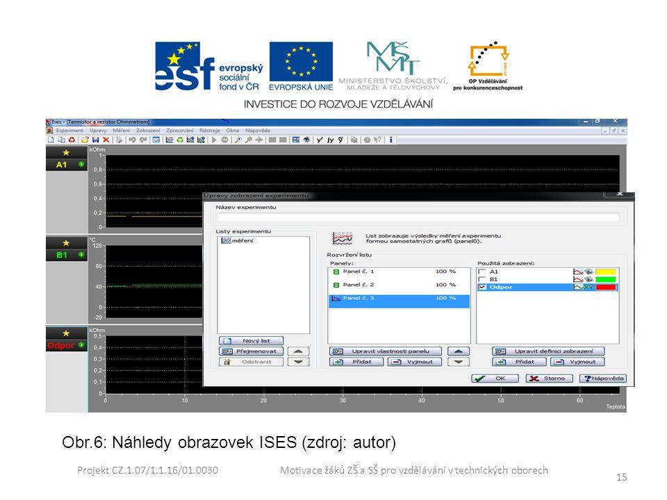 Projekt CZ.1.07/1.1.16/01.0030 Motivace žáků ZŠ a SŠ pro vzdělávání v technických oborech 15 Obr.6: Náhledy obrazovek ISES (zdroj: autor)
