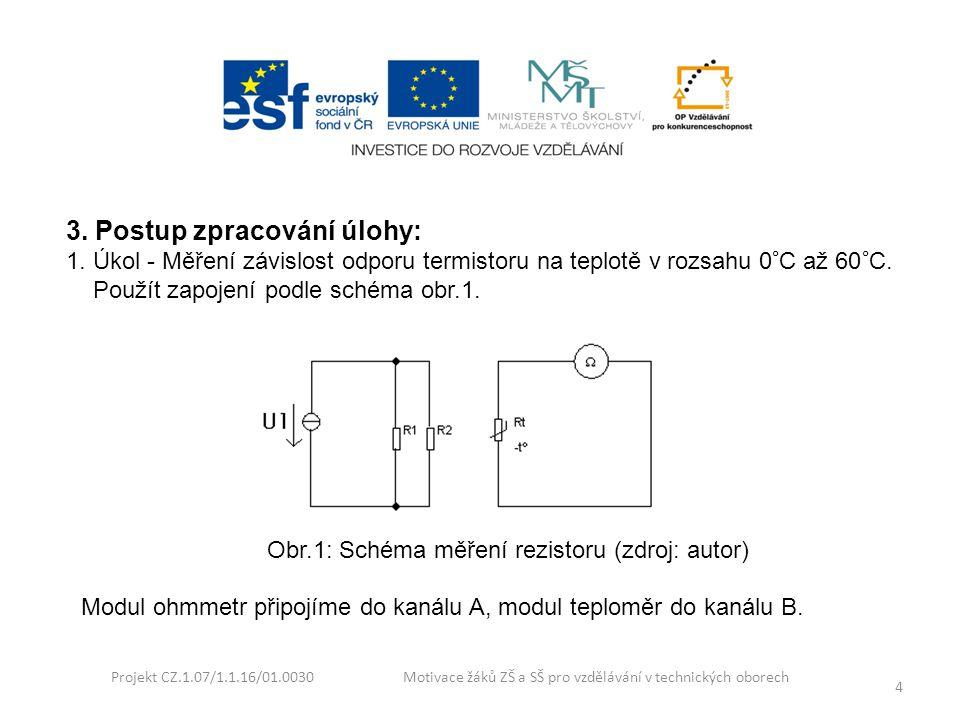 Projekt CZ.1.07/1.1.16/01.0030 Motivace žáků ZŠ a SŠ pro vzdělávání v technických oborech 4 3. Postup zpracování úlohy: 1. Úkol - Měření závislost odp