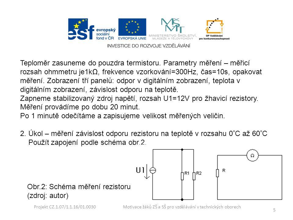 Projekt CZ.1.07/1.1.16/01.0030 Motivace žáků ZŠ a SŠ pro vzdělávání v technických oborech 5 Teploměr zasuneme do pouzdra termistoru. Parametry měření