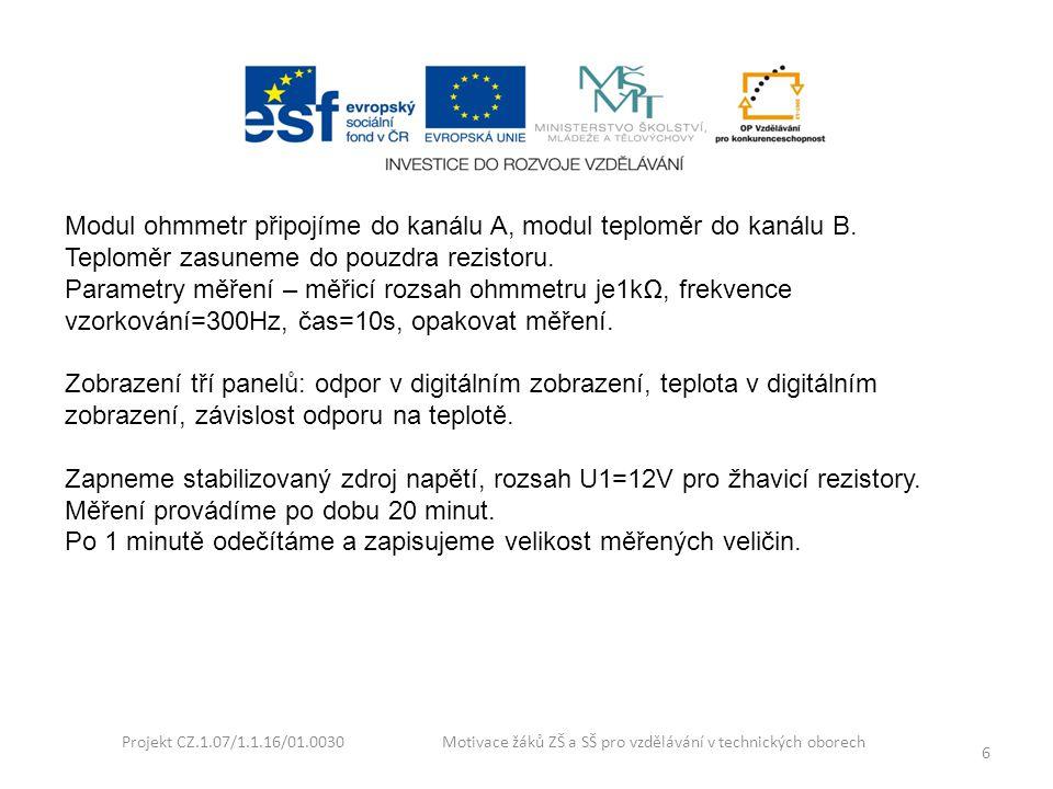 Projekt CZ.1.07/1.1.16/01.0030 Motivace žáků ZŠ a SŠ pro vzdělávání v technických oborech 6 Modul ohmmetr připojíme do kanálu A, modul teploměr do kan
