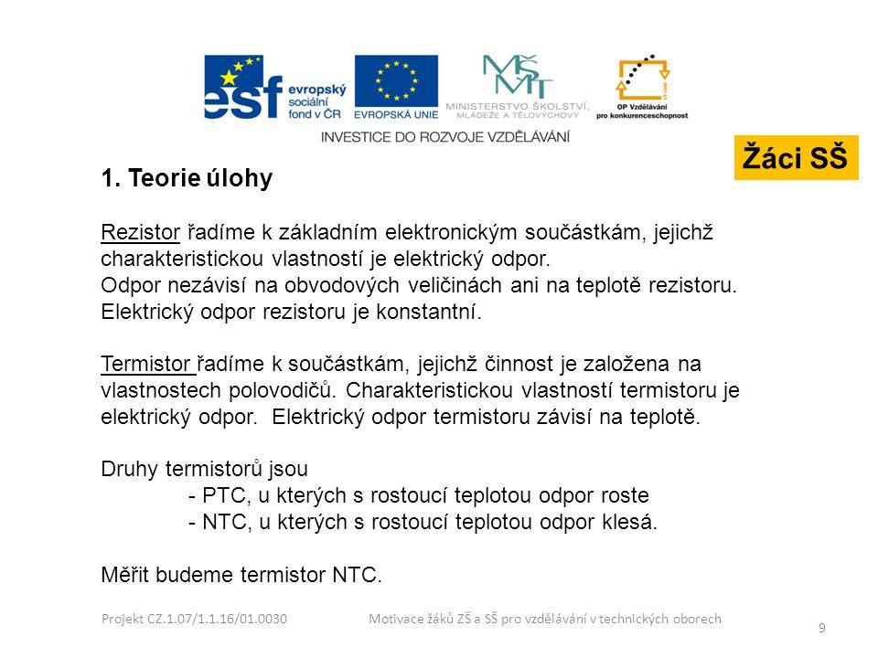 Projekt CZ.1.07/1.1.16/01.0030 Motivace žáků ZŠ a SŠ pro vzdělávání v technických oborech 9 1. Teorie úlohy Rezistor řadíme k základním elektronickým