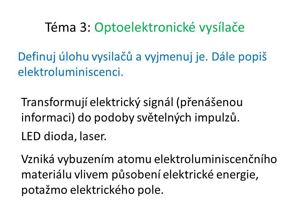 Téma 3: Optoelektronické vysílače Definuj úlohu vysilačů a vyjmenuj je.