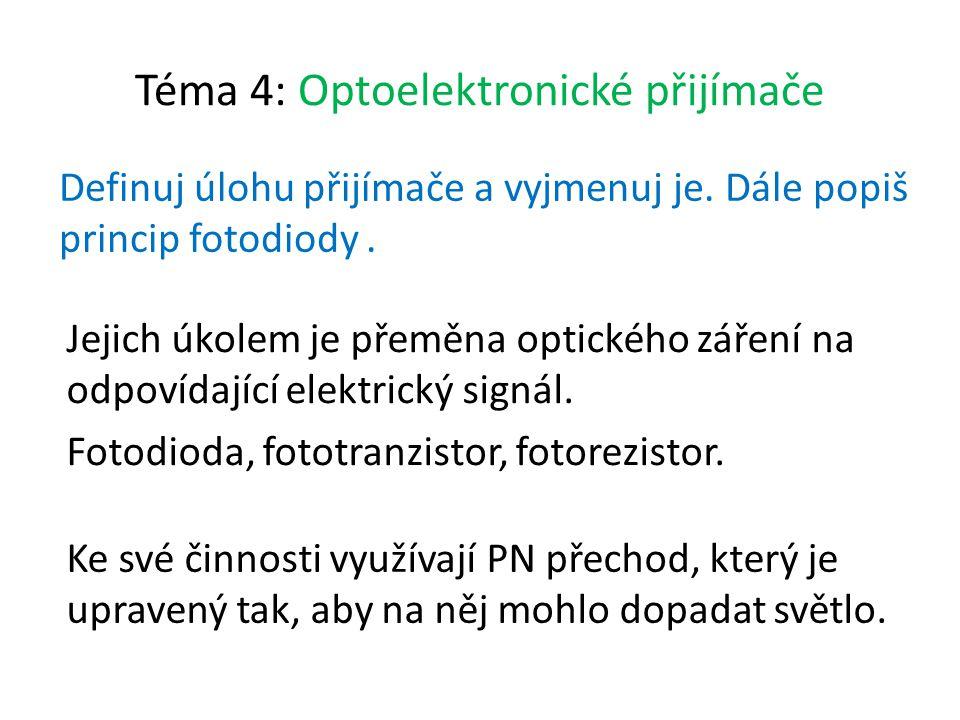 Téma 4: Optoelektronické přijímače Definuj úlohu přijímače a vyjmenuj je.