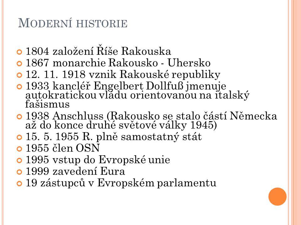 M ODERNÍ HISTORIE 1804 založení Říše Rakouska 1867 monarchie Rakousko - Uhersko 12.