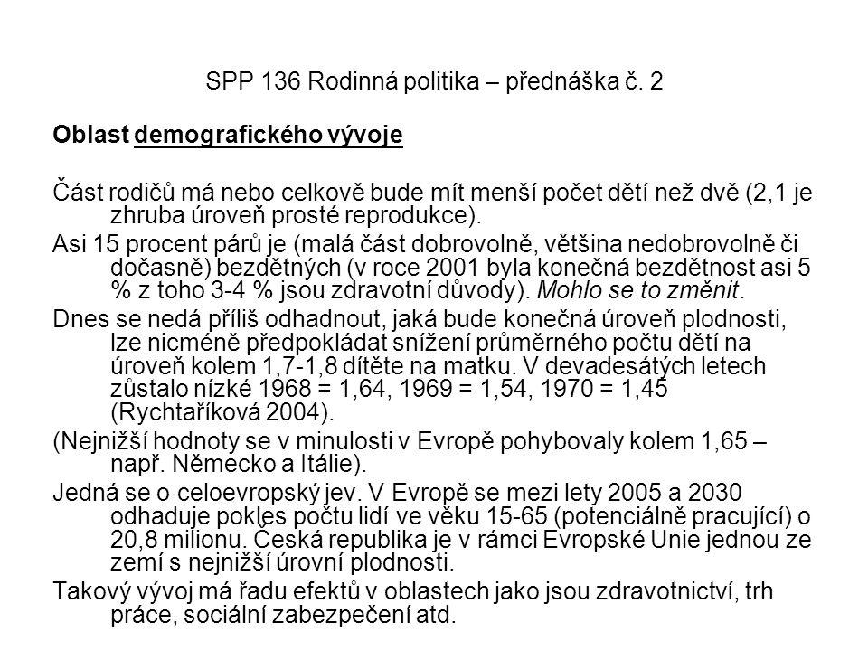 SPP 136 Rodinná politika – přednáška č. 2 Oblast demografického vývoje Část rodičů má nebo celkově bude mít menší počet dětí než dvě (2,1 je zhruba úr