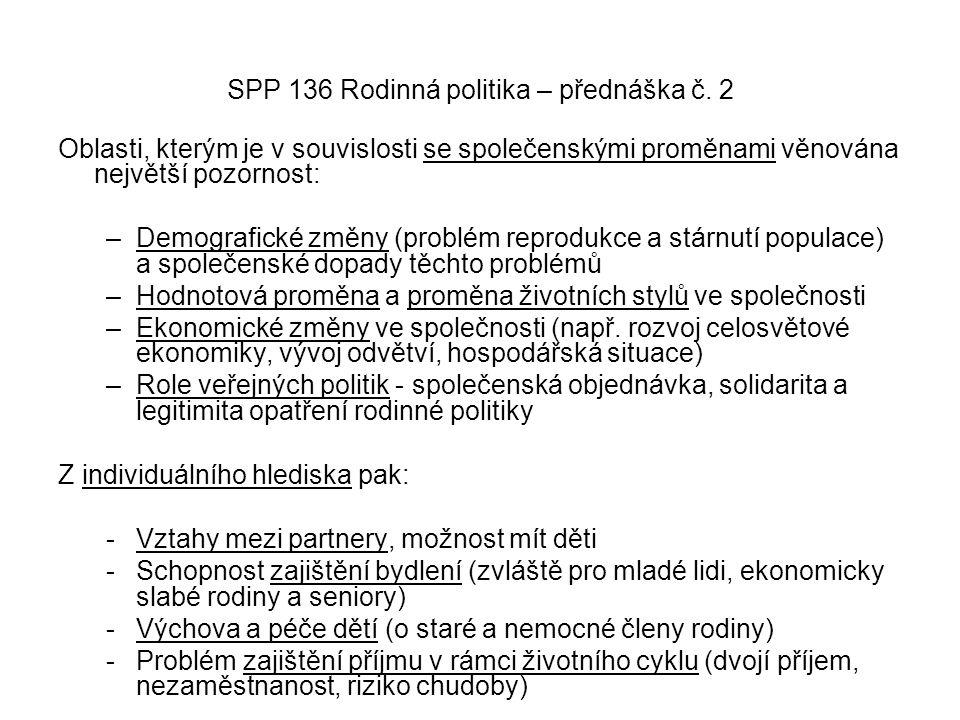 SPP 136 Rodinná politika – přednáška č. 2 Oblasti, kterým je v souvislosti se společenskými proměnami věnována největší pozornost: –Demografické změny