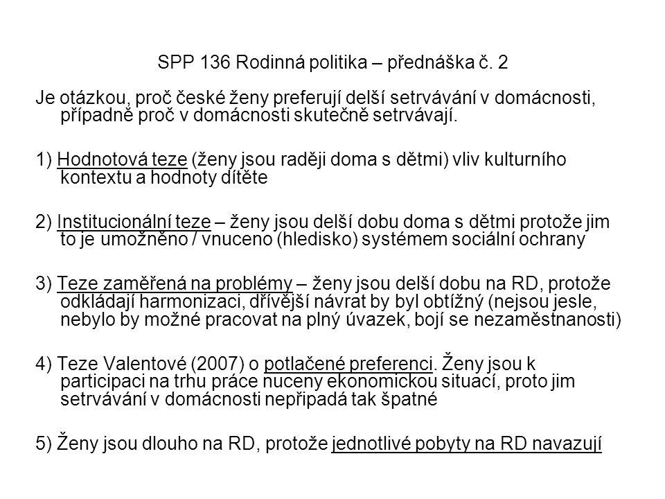 SPP 136 Rodinná politika – přednáška č. 2 Je otázkou, proč české ženy preferují delší setrvávání v domácnosti, případně proč v domácnosti skutečně set