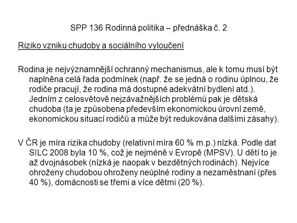 SPP 136 Rodinná politika – přednáška č. 2 Riziko vzniku chudoby a sociálního vyloučení Rodina je nejvýznamnější ochranný mechanismus, ale k tomu musí