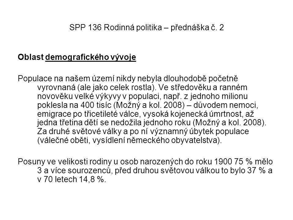 SPP 136 Rodinná politika – přednáška č. 2 Oblast demografického vývoje Populace na našem území nikdy nebyla dlouhodobě početně vyrovnaná (ale jako cel